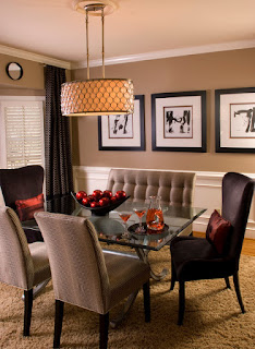 Fluffy Brown Sofas in the Simple Dining Room Decorating Ideas with Glass Table and Wide Lamp