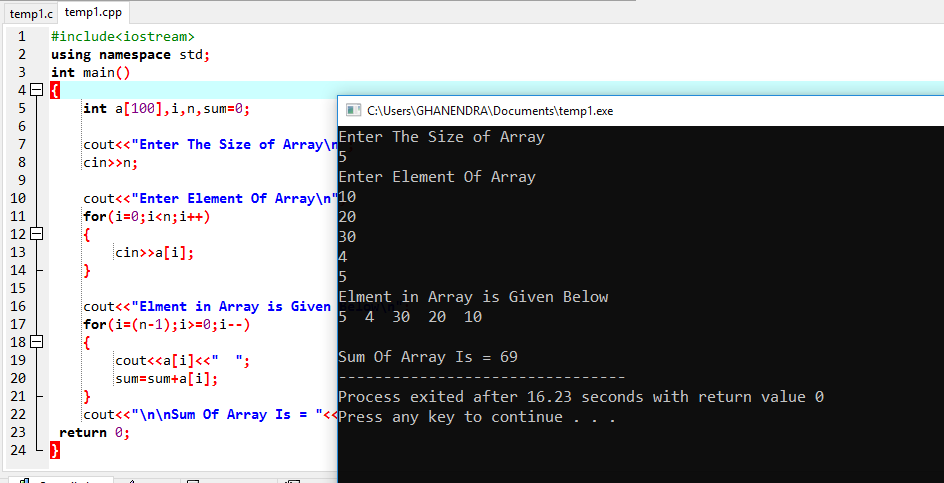 C++ Program To Reverse An Array And Sum Of Its Element