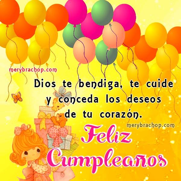Tarjetas con mensaje cristiano especial de cumpleaños para hija, hermana, amiga, buenos deseos cristianos para saludar con imágenes bonitas por Mery Bracho. Feliz cumpleaños.