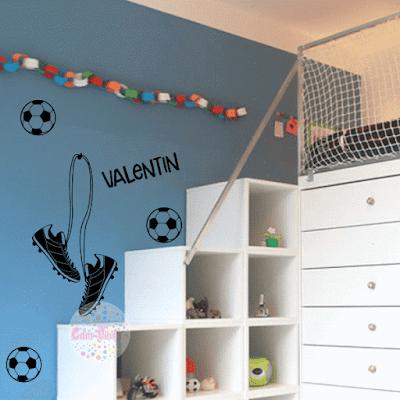 vinilo decorativo futbol pelota botines infantil juvenil