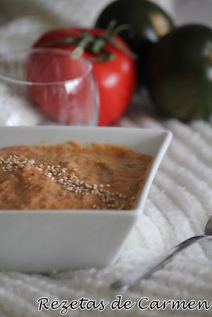 Crema de berenjenas con tomate