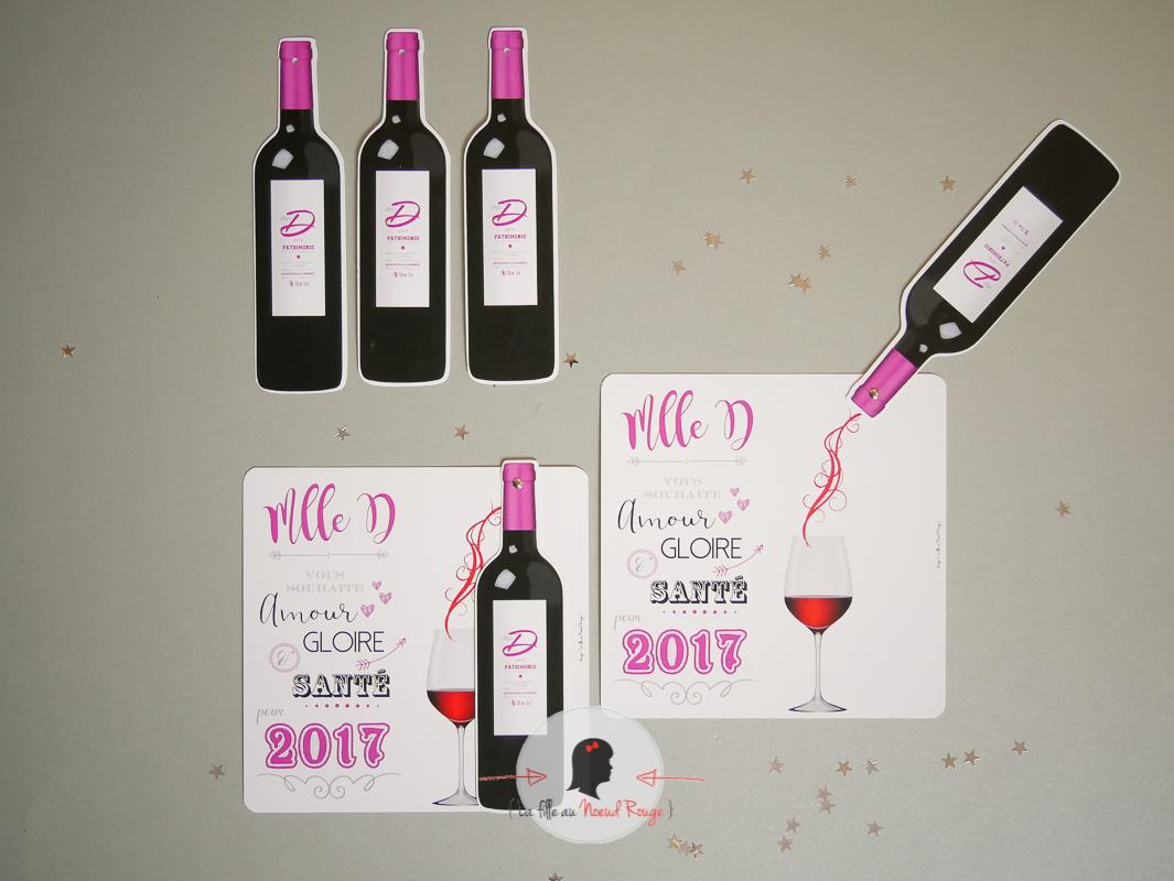Fabuleux Une jolie carte de voeux sur le thème du vin - La fille au Noeud  GF26