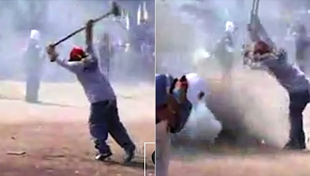 Fireworks get out of control during a Mexican street festival