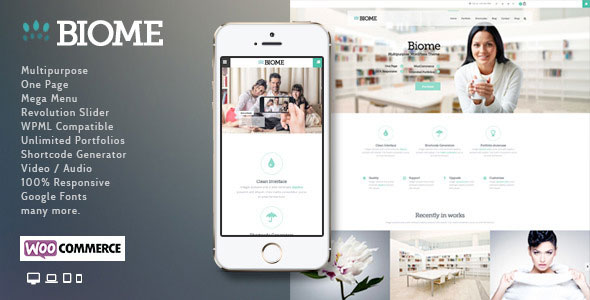 Free Download Biome V1.5 Multipurpose One Page WordPress Theme
