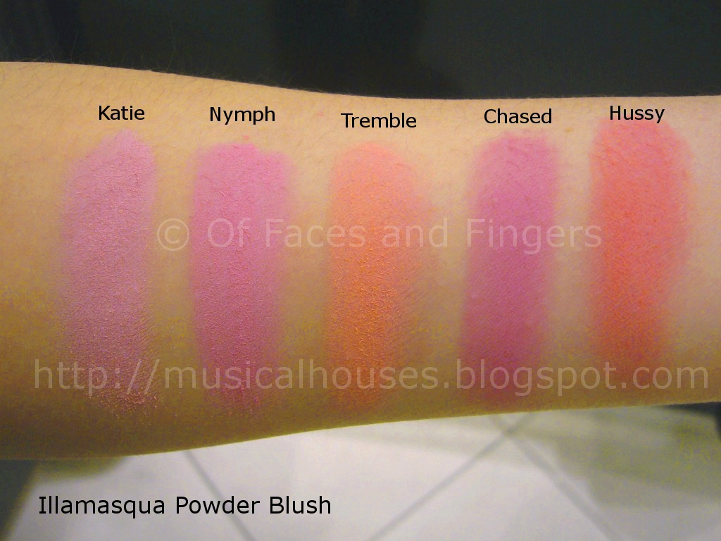Illamasqua Powder Blush Swatches Part 1 of 2 - of Faces and Fingers