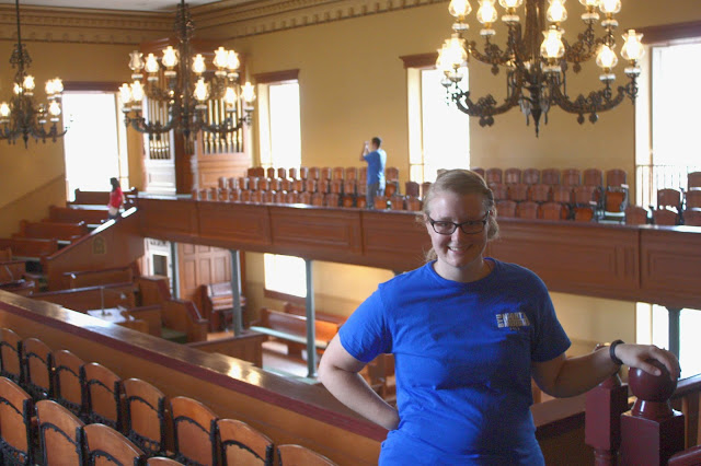 Meagan in the main hall of the historic St. George tabernacle