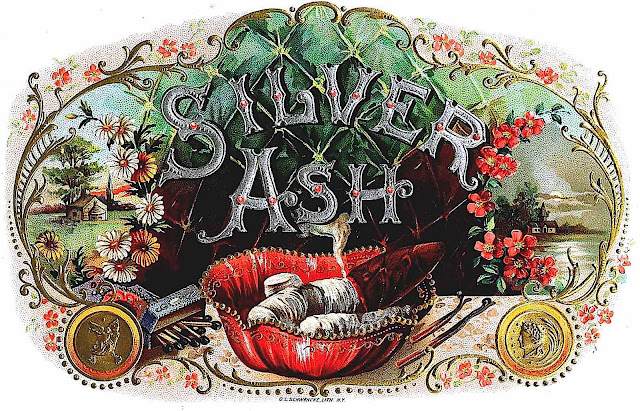 1905 Silver Ash cigar box label, full color printing foil and embossing