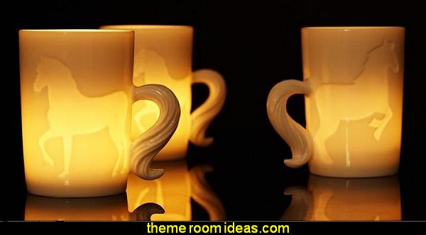 3D Ceramic Horse Pattern Dual Purpose Candle Holder and Coffee Mug