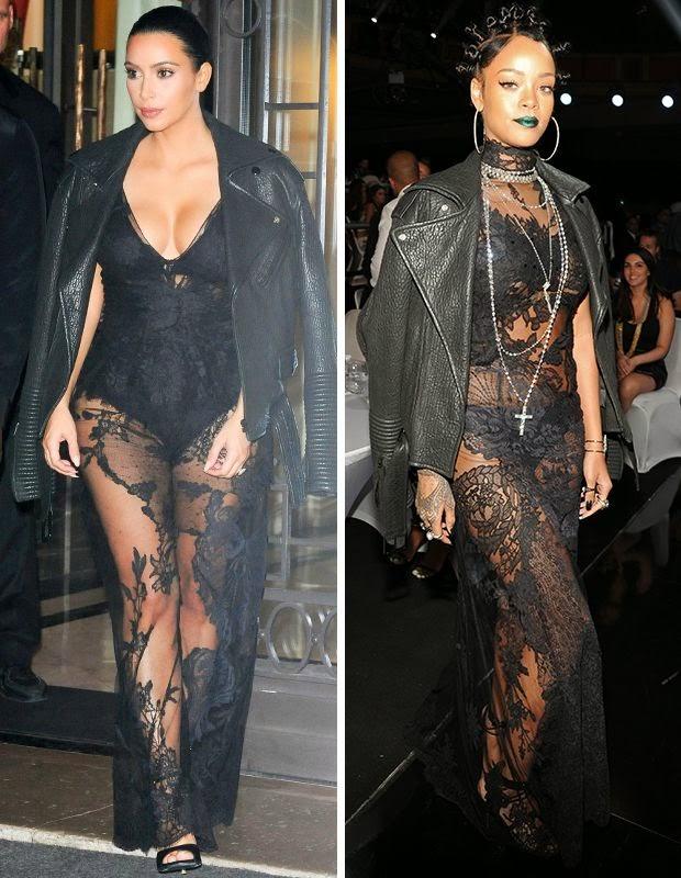 Kim Kardaskian e Rihanna com mesmo vestido