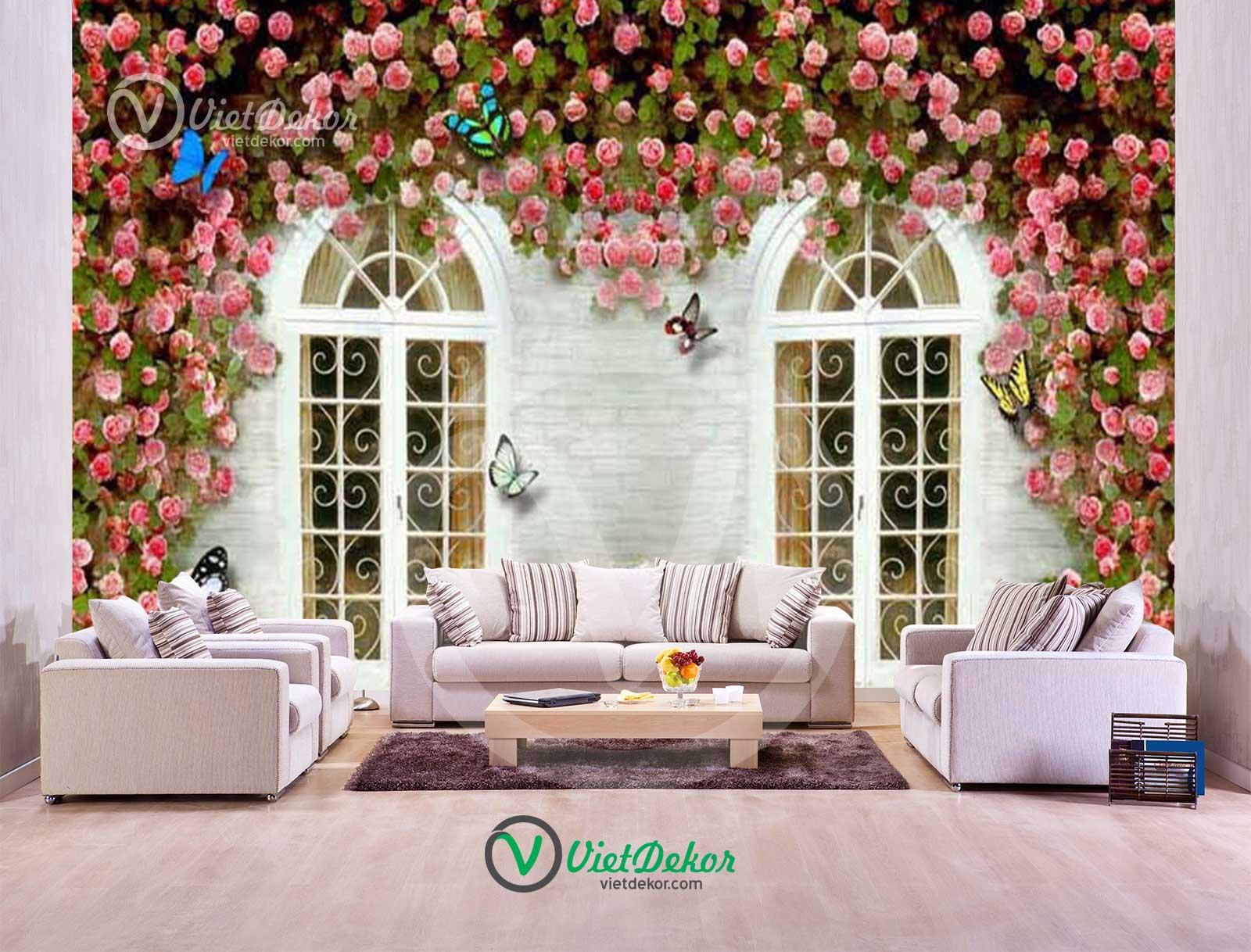 Tranh dán tường 3d cửa sổ hoa lãng mạn