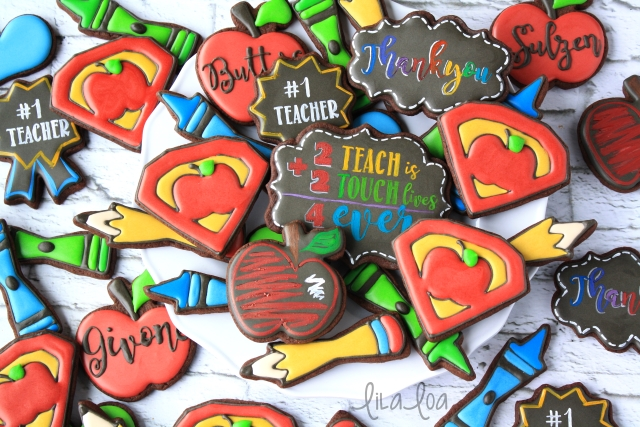 Learn how to use royal icing to make decorated Super Teacher Cookies for Teacher Appreciation Week!