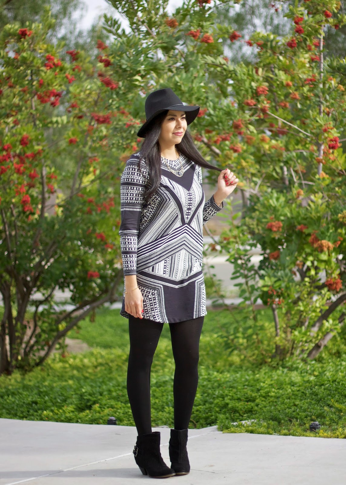 cozy tights for Fall 2014, black and white for Fall 2014, H&M sweater dress, H&M tribal dress, HMUSA sweatshirt dress, san diego fashion blogger, how to wear a knit for Fall, how to wear black in winter, dark lipstick for Fall