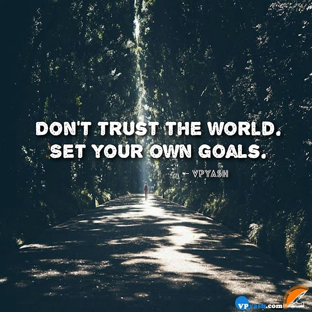 Don't Trust The World Set Your Own Goals.....