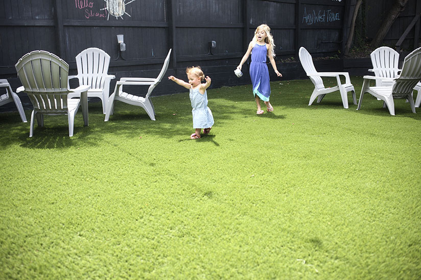 Kids playing in the backyard at The Bearded Pig