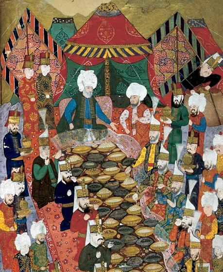 ottoman sultan feasting with janissaries