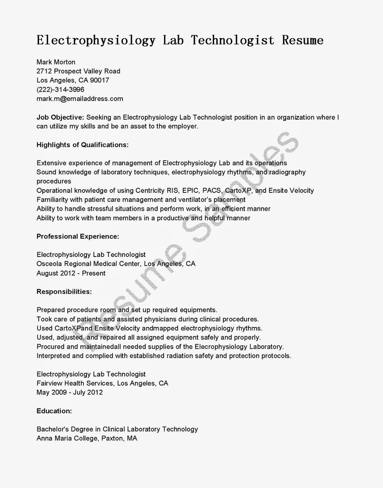 Lab Technician Resume Examples Resume Samples Electrophysiology Lab Technologist Resume