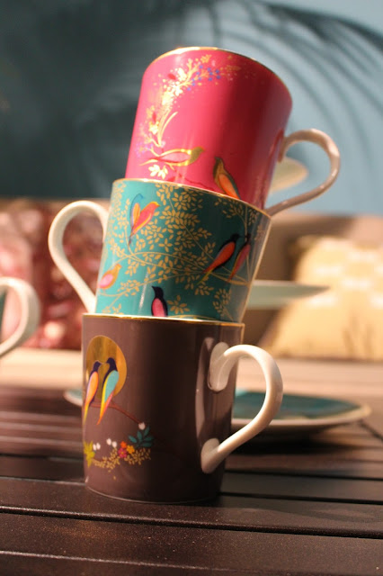 MUGS, BLUE AND PINK, FLORAL, MOROCCAN STYLE