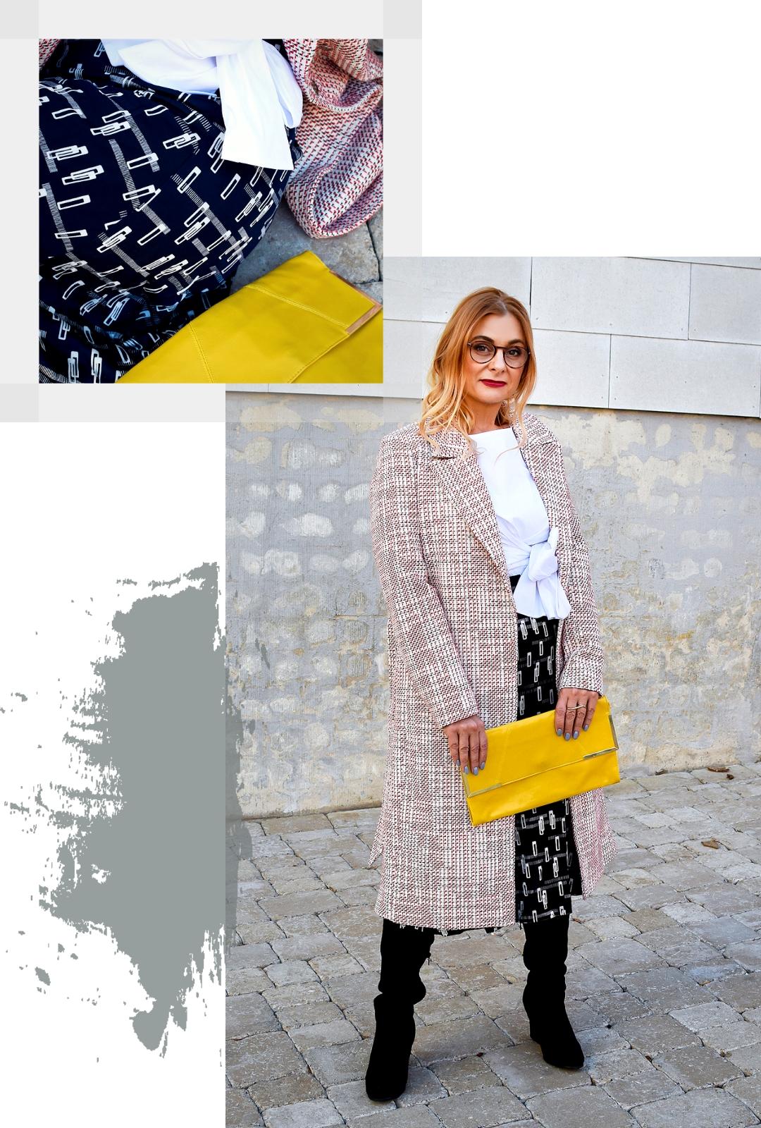 Klassischer Look aus Mantel, Bluse und Rock | Wozu passen Overknees?