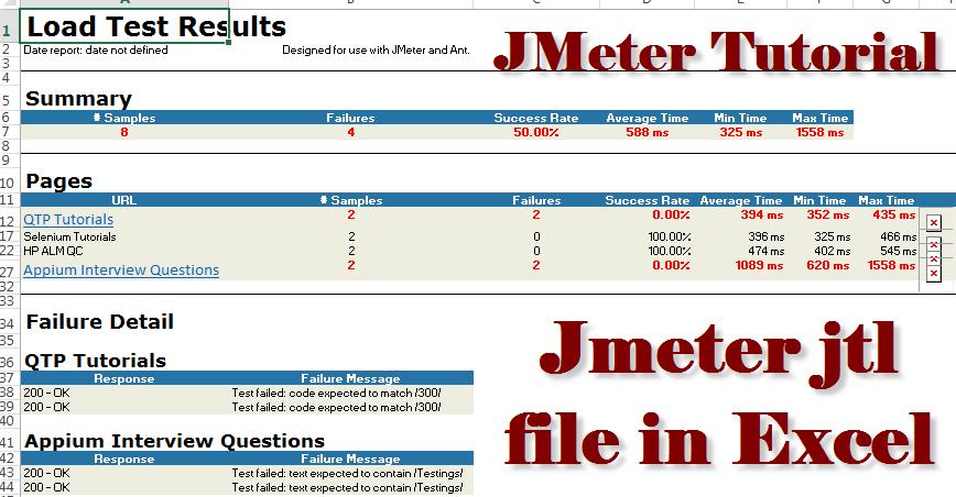 How to open Jmeter jtl file in Excel example