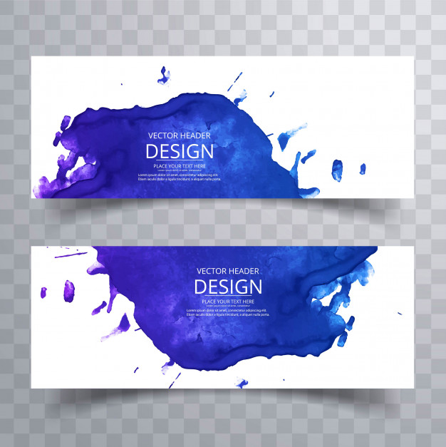 Abstract colorful watercolor banners set Free Vector