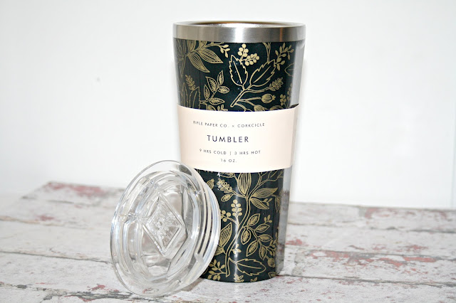 Rifle Paper Co x Corkcicle Tumbler Queen Anne Design