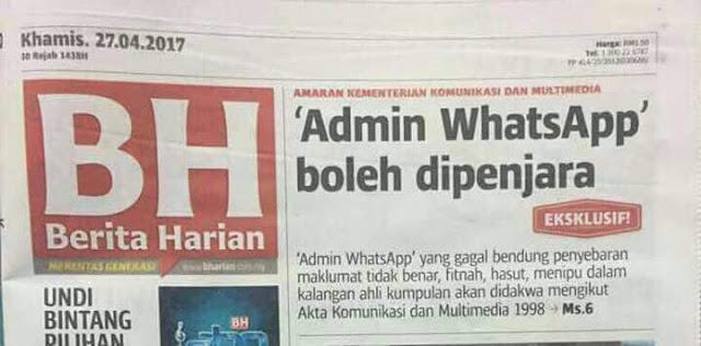 Pemilik WhatsApp group boleh dipenjara!