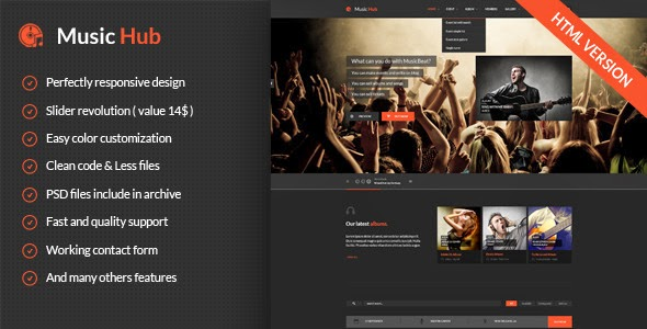 Responsive Bootstrap 3 Music Template