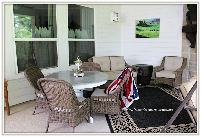 covered back porch-wicker dining chairs-round table-wicker patio furniture- from my front porch to yours