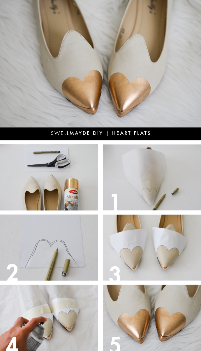 heart cap toe flats