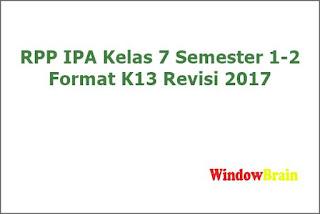 rpp ipa kelas 7 semester 1-2 format k13 revisi 2017