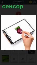на экране сенсора рисуют цветок специальной ручкой
