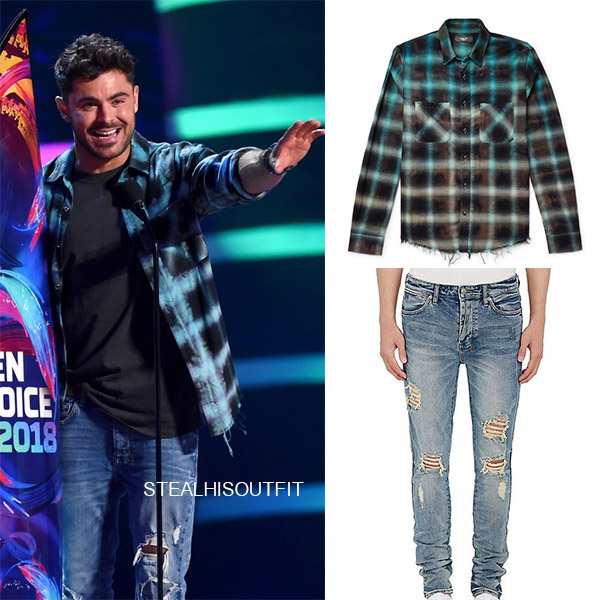 Zac Efron in blue flannel shirt amiri and ksubi jeans teen choice awards 2018 mens fashion