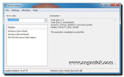 Error Lookup 2.3 - Вид программы при запуске