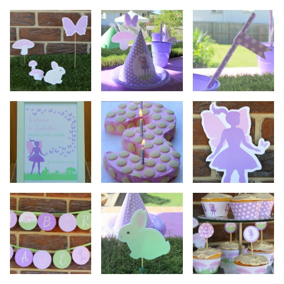 Images of fairy party styling and decorations using Love That Party diy printable paper decorations.