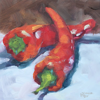 simone ritter art 2019 red spicy peppers stilllife oil painting