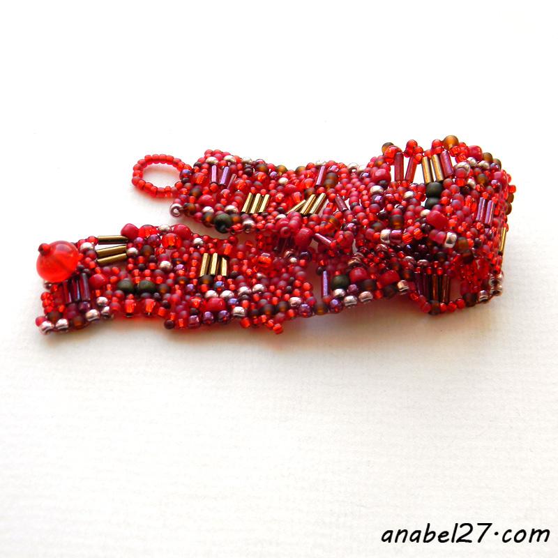 купить красный браслет из бисера украшения бохо