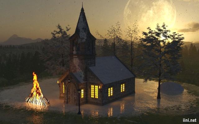 ảnh nhà thờ trong đêm mùa đông