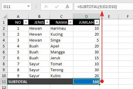 Contoh Fungsi Rumus Subtotal 1