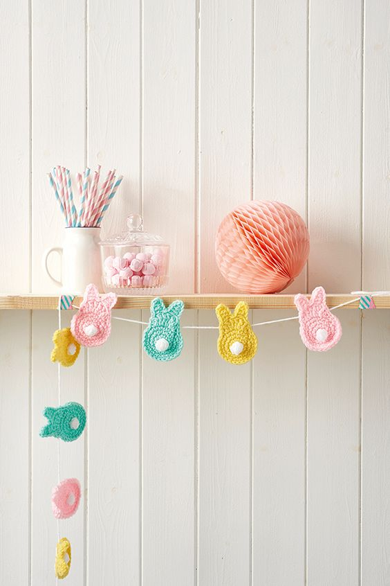 Spring Bunny crochet garland by Love The Blue Bird