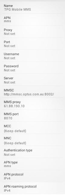 TPG MMS Settings for Android Samsung GalaxyHTC Wildfire Desire