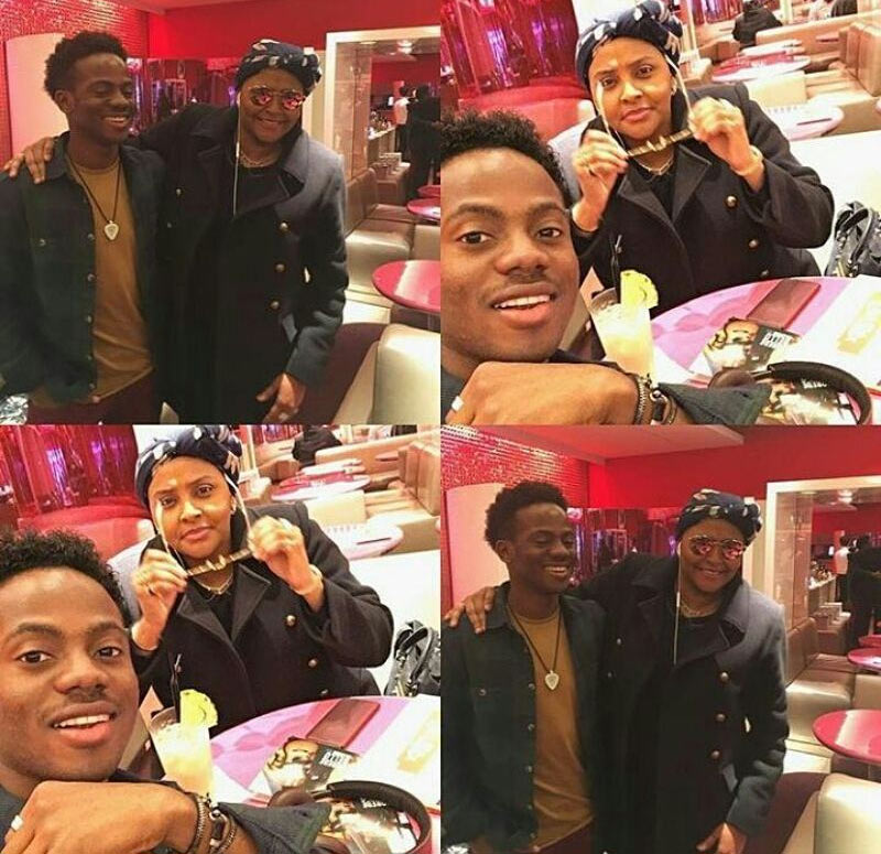 Korede Bello hangs out with one of his fans