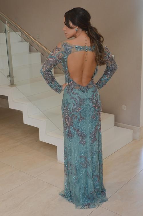 vestido de festa com manga longa