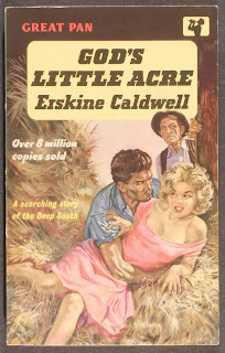 "A pulp cover for ""God's Little Acre,"" featuring a man grabbing a woman about the waist amongst hay while another man looks on disapprovingly."