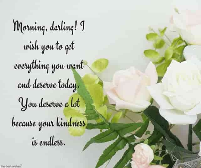pleasant good morning text messages with white roses