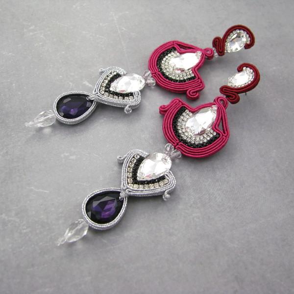 Malinowe kolczyki ślubne z kryształami Swarovski elements.