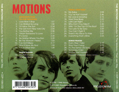 The Motions - Introduction To The Motions & Their Own Way  (1965 &1966)