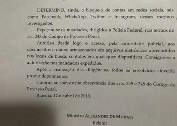 Trecho de decisão proferida pelo ministro Alexandre de Moraes, do Supremo Tribunal Federal (Reprodução/Veja)