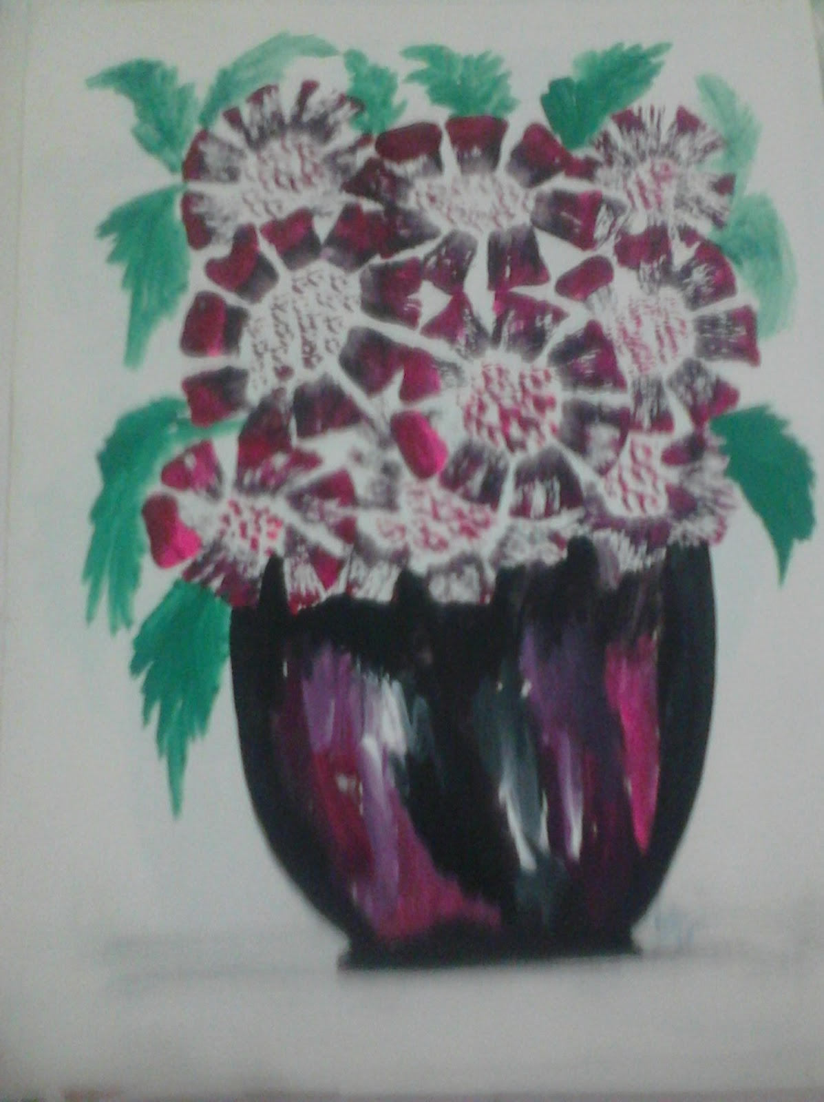 Razarts Abstract Flowers And Vases Paintings In Water