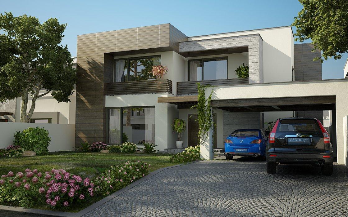 3D Modern domestic front elevation - e2 Homes, Inc.- Award Winning Custom ....com: Valancia Modern 3-d Contemporary Houses ... - Front Elevation Modern House