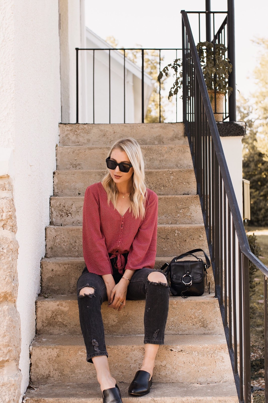 cute summer-to-fall outfit: bell sleeve top, cropped jeans, loafers